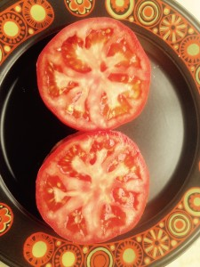 Add slices of beefsteak tomato